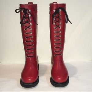 NIB Ilse Jacobsen Rub 1 Knee High Boots Red 36 /6